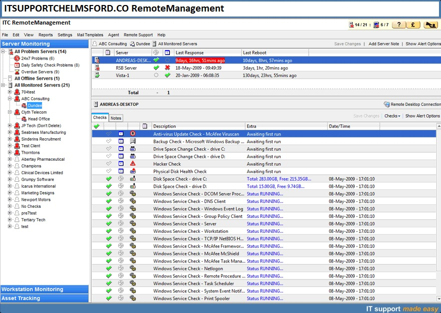 Remote Management and IT network monitoring Essex